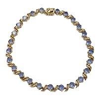 Vintage Iolite Line Bracelet 5.75 Carat tw 10K Yellow Gold
