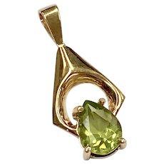 Peridot Pendant .80 Carat Pear Cut 14K Gold