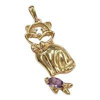 Jeweled Cat & Fish Vintage Pendant 14K Gold Diamond & Amethyst