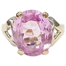 Pink Sapphire Solitaire 6.0 Carat Vintage Ring 10K White Gold