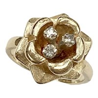 Vintage Diamond Flower Ring .15 Carat tw 14K Gold
