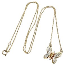 Diamond Butterfly Necklace 14K Two-Tone Gold, .12 Carat tw
