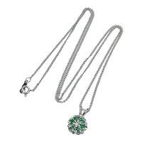 Natural Emerald & Diamond .42 ctw Pendant / Necklace 14K White Gold