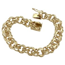 Heavy Double Link Charm Bracelet 14K Gold 32.1 Grams