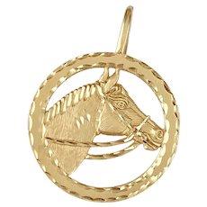 Horse Equestrian Vintage Pendant 14K Gold, Michael Anthony