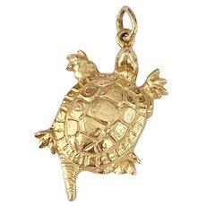 Turtle Vintage Charm / Pendant 14K Gold Three-Dimensional