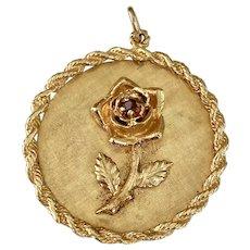 Big Jeweled ROSE Vintage Charm 14K Gold & Garnet