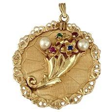 BIG Jeweled Floral Bouquet / Cornucopia Vintage Charm 14K Gold