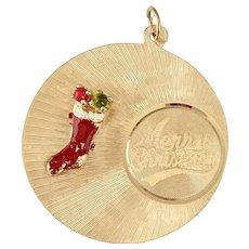 BIG Christmas Holiday Vintage Charm 14K Gold