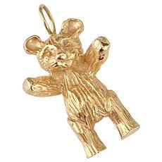 Teddy Bear Vintage Charm Solid 14K Gold Three-Dimensional