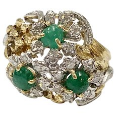 Emerald & Diamond Vintage Cocktail Ring 18K Two-Tone Gold, Mid-Century