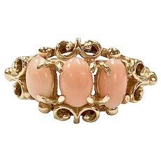 Angel Skin Coral Vintage 3-Stone Ring 14K Gold, Victorian Revival