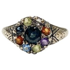 Victorian Colorful Gemstone Ring 10K Gold, Acrostic