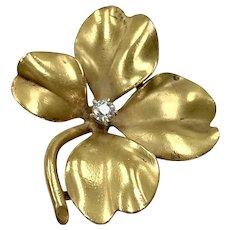 Edwardian Four-Leaf Clover / Shamrock Pendant 14K Gold & Diamond .08 ct.