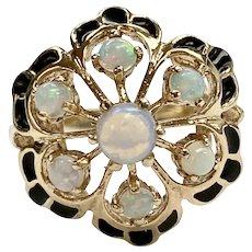 Vintage Opal Ring Black Enamel Accent 10K Gold, Victorian Revival