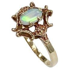 Victorian Revival Natural Opal Ring 10K Gold