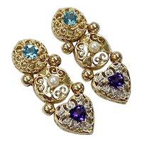 Victorian Revival Jeweled Slide Earrings 14K Gold, Topaz, Amethyst, Pearl & Diamond