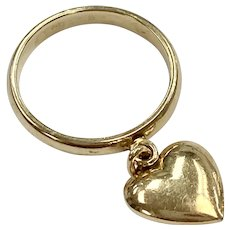 Vintage Puffy Heart Charm Ring 14K Gold