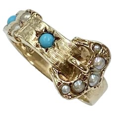 Victorian Revival Buckle Ring Seed Pearl, Turquoise & 9K English Gold
