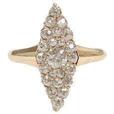 Victorian Diamond Navette Ring .58 ctw 18K Gold