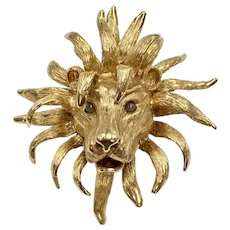 HUGE Lion Statement Pendant/Brooch Custom OOAK 14K Gold & Chalcedony