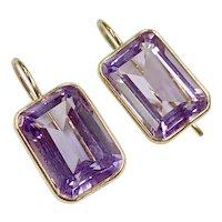 Amethyst Drop Earrings 14.2 ctw Emerald Faceted 14K Gold