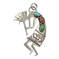 Kokopelli Vintage Native American Pendant Sterling Silver Turquoise, Coral & Malachite
