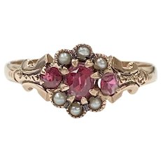 Victorian Ring Ruby & Seed Pearl 10K Rose Gold