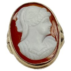 Victorian Agate / Hard Stone Cameo Ring 14K Gold