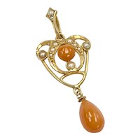 Victorian Lavaliere Pendant 14K Gold Coral & Seed Pearl