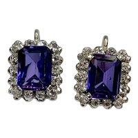 Vintage Earrings Lab Alexandrite & Genuine Diamond 4.70 TGW, 18K White Gold