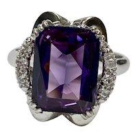 Vintage Lab Alexandrite & Diamond Ring 8.49 CTW, 18K White Gold