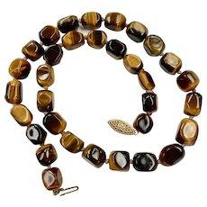 "Tigers Eye Bead Vintage Necklace 14k Gold 16"" Length"