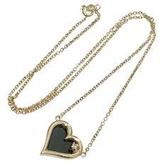 Onyx & Diamond Heart Necklace 14K Gold, Reversible