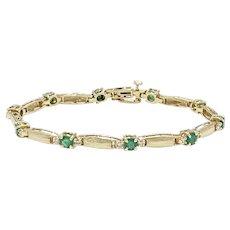 Gorgeous Emerald & Diamond Fashion Line Bracelet 3.0 Carats tgw 14K Gold