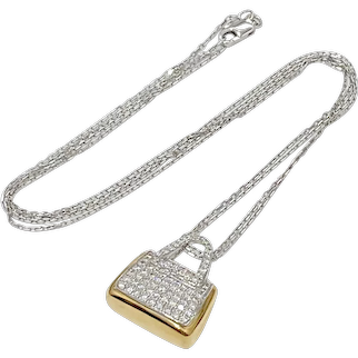 Diamond Handbag Pendant/Necklace 1.58 Carats, 18K Gold Reversible MOVADO