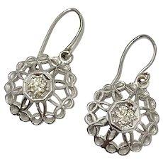 Art Deco Diamond Dangle Earrings .50ctw, 14K White Gold