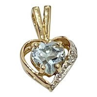Petite Aquamarine & Diamond HEART Pendant 14K TT Gold