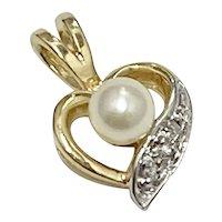 Petite Cultured Pearl & Diamond HEART Pendant 14K TT Gold