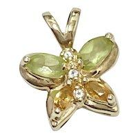 Petite Jeweled Butterfly Pendant Peridot, Citrine & Diamond 10K Gold