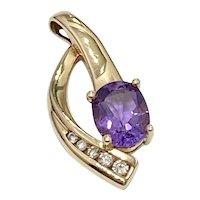 Amethyst & Diamond Vintage Pendant 1.90 tgw, 14K Gold