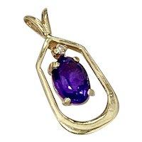 Amethyst & Diamond Vintage Pendant .74 tgw, 14K Gold