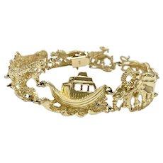 Statement NOAH'S ARK Vintage Bracelet 14K Gold, Impressive BIG
