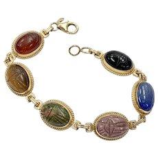 Egyptian Revival Scarab Bracelet 14K Gold