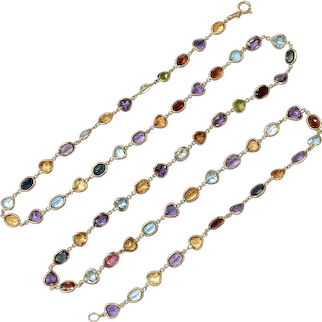 "Long Colorful Multi-Gemstone Necklace 18K Gold, 44.80 CTW, 31"" Length"