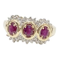 Ruby 3-Stone Ring Diamond Accent 1.01 Carat tgw 14K Two-Tone Gold