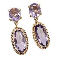 Victorian Revival Amethyst Dangle Earrings 13.74 Carats, 14K Gold