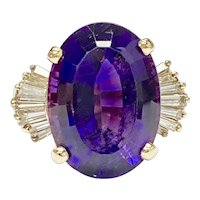 Incredible Gem Amethyst & Diamond Vintage Ring 12.41 Carats tgw 14K Gold