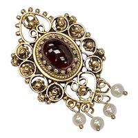 Victorian Revival Pendant / Brooch Garnet, Seed Pearl, 14K Gold