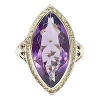 Art Deco Amethyst Solitaire Filigree Ring 14K Two-Tone Gold, 7.63 Carats